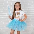 """Карнавальный набор """"Фея"""", 2 предмета: жезл, юбка, цвет голубой, 3-5 лет"""
