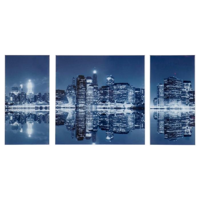 """Картина модульная на стекле """"Ночной город""""  2-25*50см, 1-50*50см,  100*50см - фото 937695"""