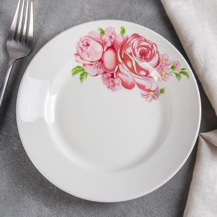 """Тарелка мелкая 17,5 см """"Розовые розы"""""""