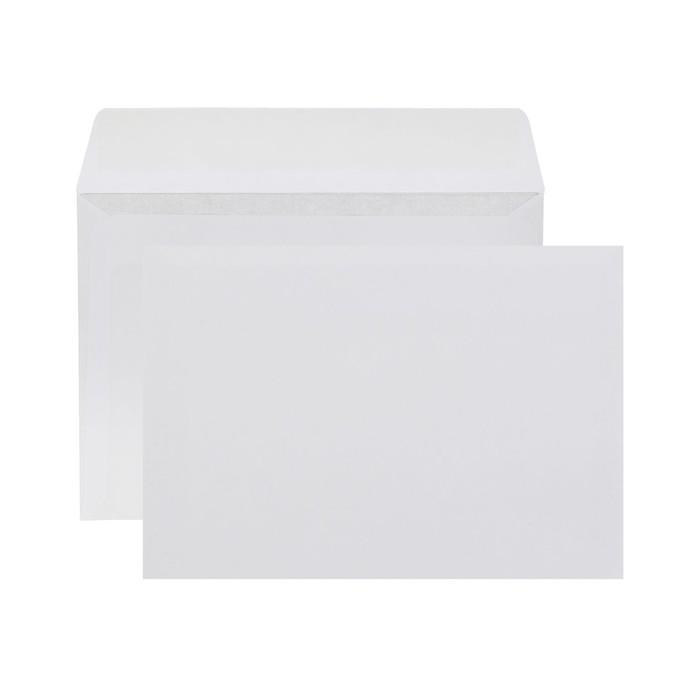 Конверт почтовый С6 114х162мм чистый, без окна, силиконовая лента, внутренняя запечатка, 80 г/м, упаковка 100шт