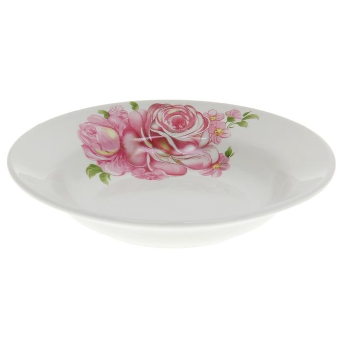 """Тарелка глубокая 20 см """"Розовые розы"""", 250 мл"""