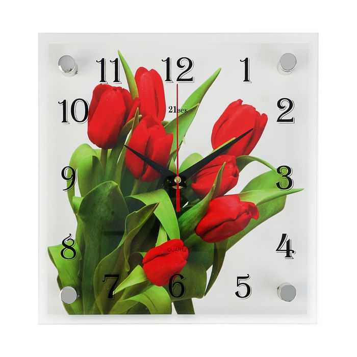"Часы настенные, серия: Цветы, ""Тюльпаны на белом фоне"", 25х25 см"