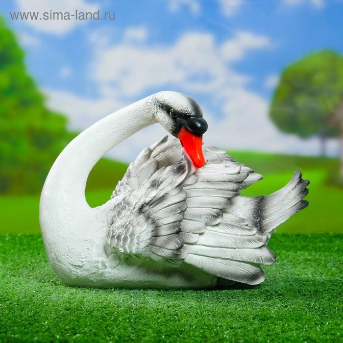 """Садовая фигура """"Белый лебедь чистящий пёрышки"""""""