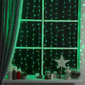 """Гирлянда """"Занавес"""" 2 х 1.5 м , IP20, прозрачная нить, 360 LED, свечение зелёное, 8 режимов, 220 В"""