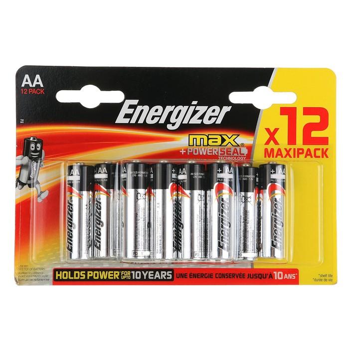 Батарейка алкалиновая Energizer Max, AA, LR6-12BL, блистер, 12 шт.