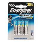 Батарейка алкалиновая Energizer Maximum, ААА, LR03-4BL, 1.5В, блистер, 4 шт.