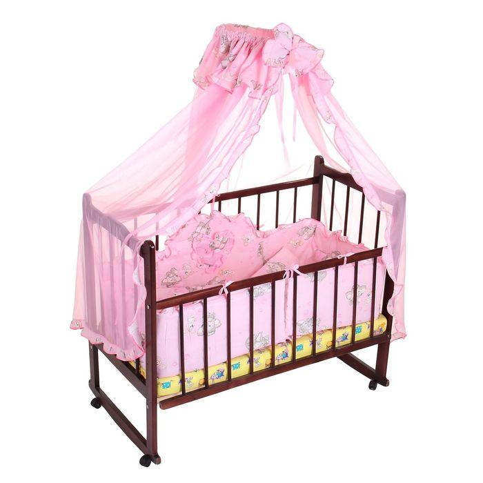 """Комплект в кроватку """"Слонята"""" (4 предмета), цвет розовый (арт. 1515)"""