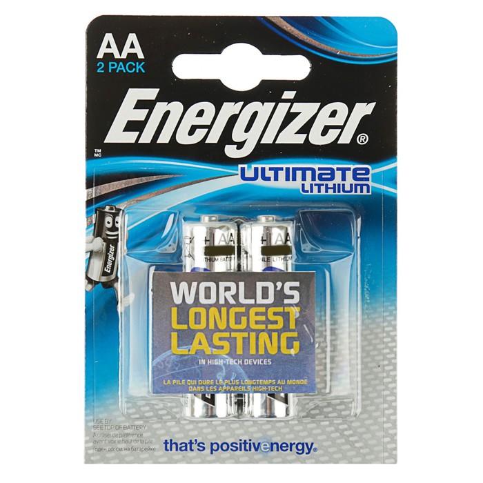 Батарейка литиевая Energizer Ultimate Lithium, АА, FR6-2BL, блистер, 2 шт.