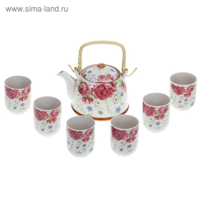 """Набор для чайной церемонии 7 предметов """"Роза дивная"""" (чайник 900 мл, чашка 70 мл)"""