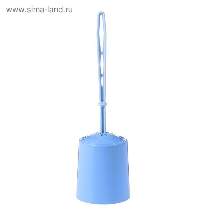 """Ерш для унитаза с подставкой """"Круг"""", цвет голубой"""