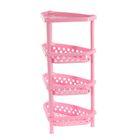 Этажерка угловая 4-х ярусная, универсальная, цвет розовый