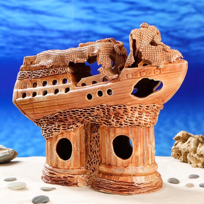 """Декорация для аквариума """"Корабль ломаный'', 15 х 40 х 33 см"""