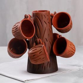 """Компотный набор """"Дерево"""", 7 предметов в наборе: бокал 1 л, чашки 0.1 л"""