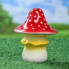 """Садовая фигура """"Мухомор"""" средний, острая шляпка, бело-жёлтая ножка"""