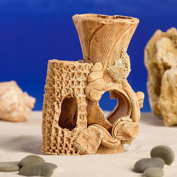 """Декорация для аквариума """"Амфора и дерево"""" малая, микс, 6 х 11 х 12 см, микс"""
