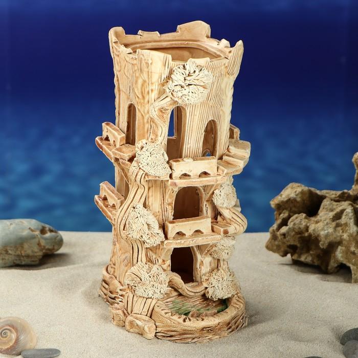 """Декорация для аквариума """"Замок квадратный с лестницей"""", 22 см, микс"""