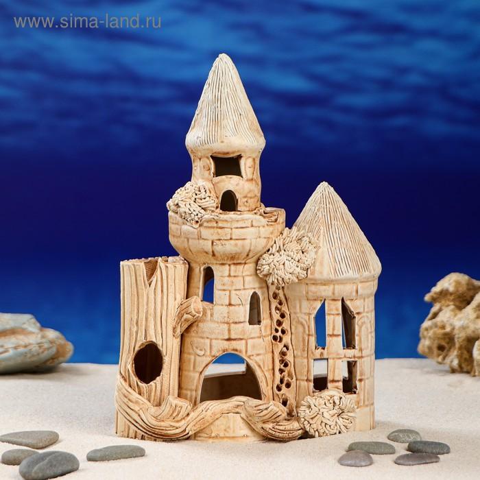 """Декорации для аквариума """"Замок с деревом и двумя башнями"""" малый"""