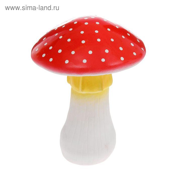 """Садовая фигура """"Мухомор"""" большой, бело-жёлтая ножка, низкая шляпка"""