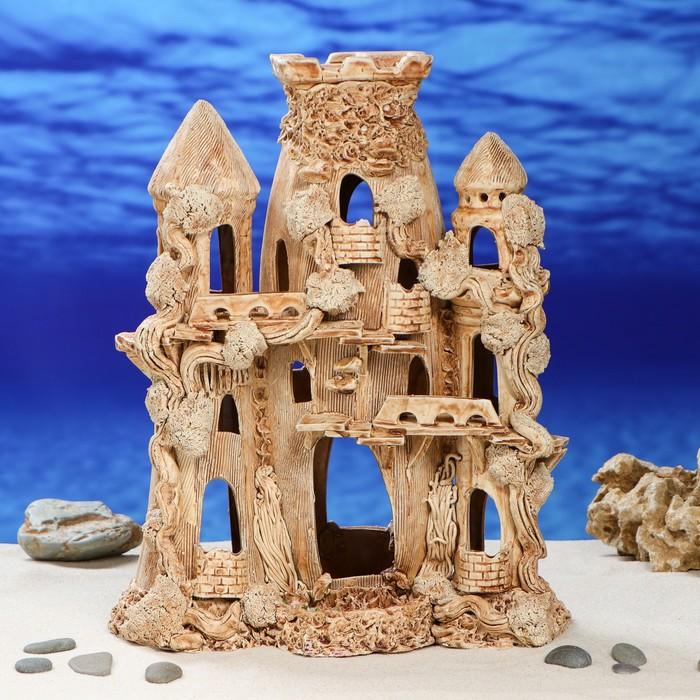 """Декорация для аквариума """"Замок с овальной башней"""", 15 х 30 х 35 см"""