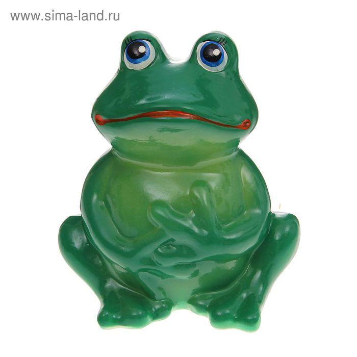 """Садовая фигура """"Сидящая лягушка"""" тёмно-зелёная"""