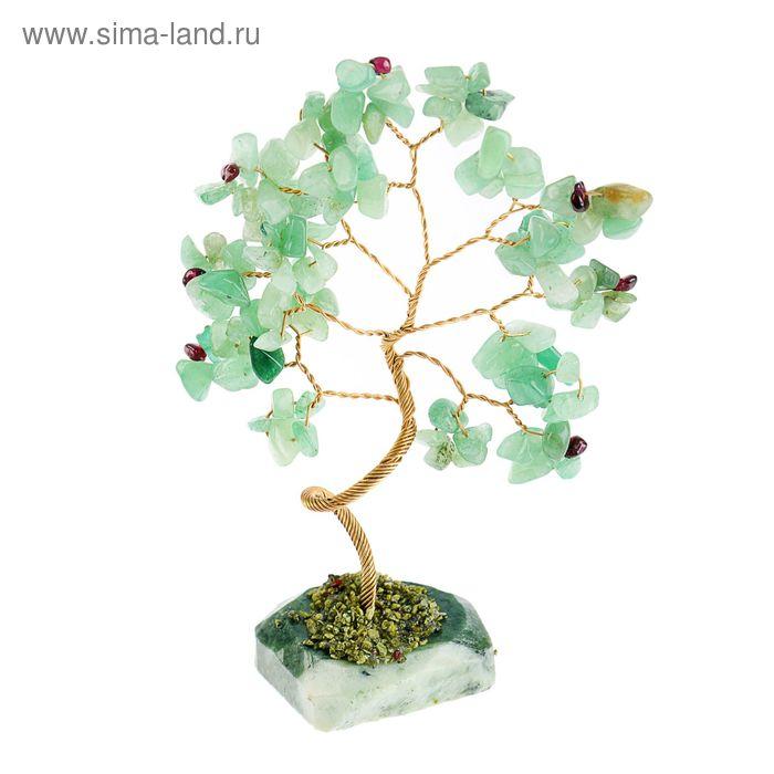 """Дерево счастья """"Зелёный авантюрин с гранатом"""", натуральный камень, 21 лист"""