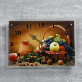 """Часы настенные, серия: Кухня, """"Корзинка фруктов"""", 25х35  см, микс"""