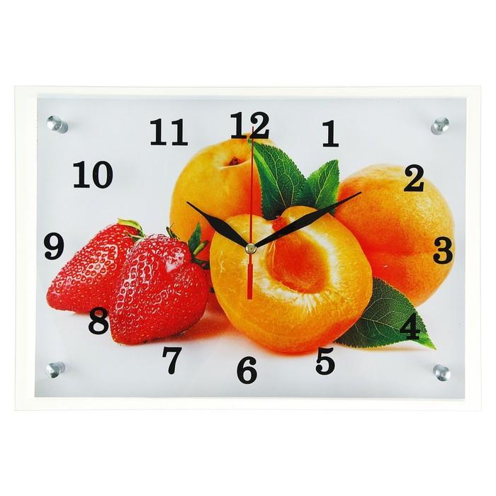 """Часы настенные, серия: Кухня, """"Абрикосы и клубника"""", 25х35  см, микс"""