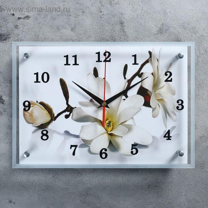 """Часы настенные прямоугольные """"Орхидея"""", 25х35 см микс"""