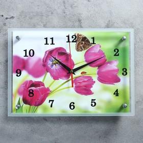 """Часы настенные, серия: Цветы, """"Бабочка на цветке"""", 25х35  см, микс"""