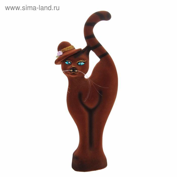 """Копилка """"Кошка в шляпе"""" флок, коричневая"""