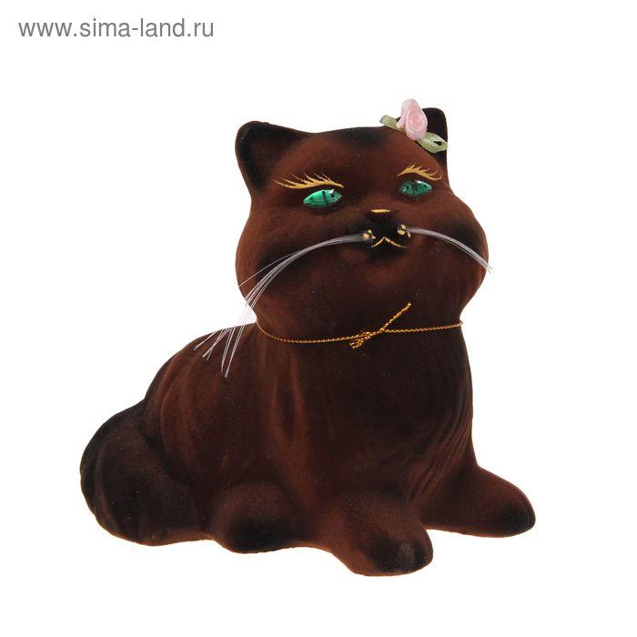 "Копилка ""Кошка Пушистик"" малая, флок, коричневая"