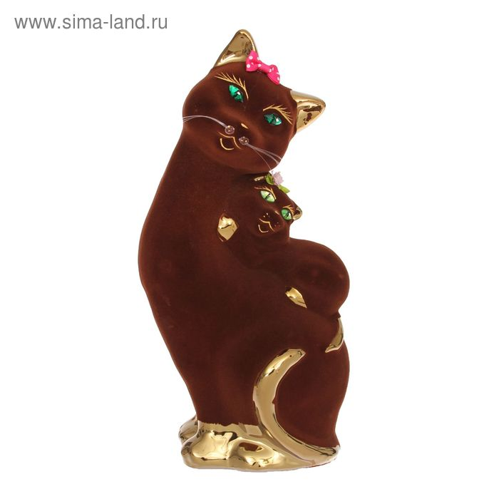 "Копилка ""Кошка с котёнком на спине"" флок, булат, коричневая"