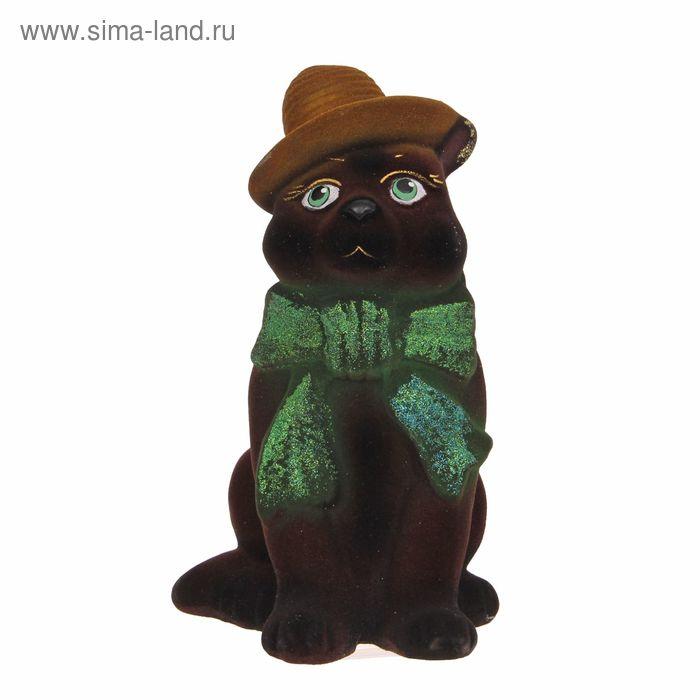 """Копилка """"Кот в шарфе"""" флок, коричневая"""