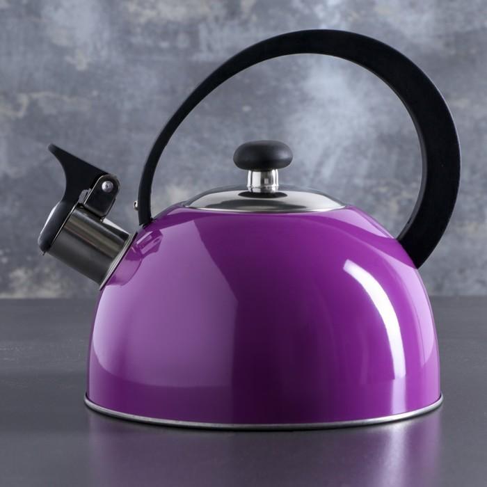 """Чайник """"Радуга"""", макс. объем 2,1 л, со свистком, фиксированная ручка, цвет сиреневый"""