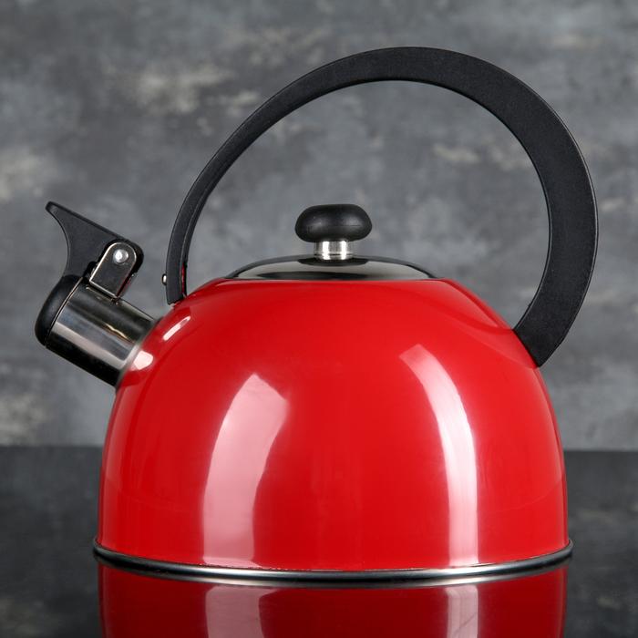 """Чайник """"Радуга"""", макс. объём 2,1 л, со свистком, фиксированная ручка, цвет красный"""