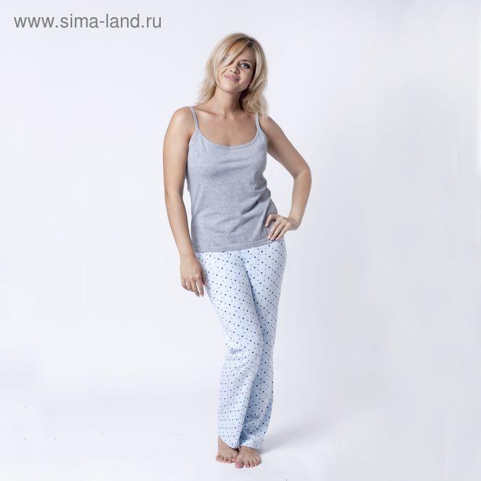 """Брюки женские  """"Collorista"""" р-р XL(50), голубой набивка, хлопок 100%"""