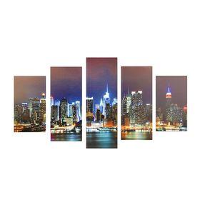 """Модульная картина на подрамнике """"Ночной мегаполис"""", 2 — 43×25, 2 — 58×25, 1 — 72×25 см, 72×125 см"""