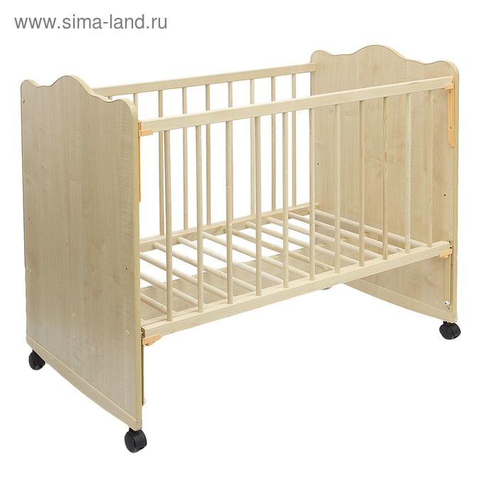 Детская кроватка «Колибри Классик-4» на колёсах или качалке, цвет клён
