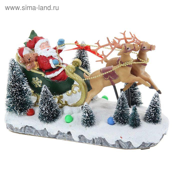 """Сувенир """"Дед Мороз в санях с мишкой"""" световой"""