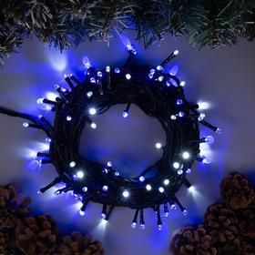 """Гирлянда """"Нить"""" 10 м , IP44, тёмная нить, 100 LED, свечение бело-синее, мигание, 220 В в Донецке"""