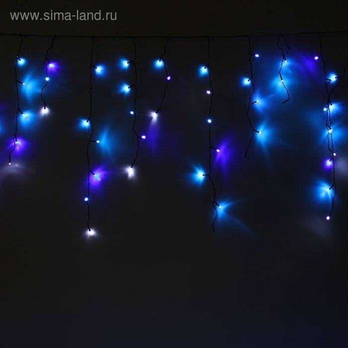 """Гирлянда """"Бахрома"""" Ш:1,2 м, В:0,6 м, Н.Т. LED-60/15-220V, эффект мерцания, СИНЕ-БЕЛЫЙ"""