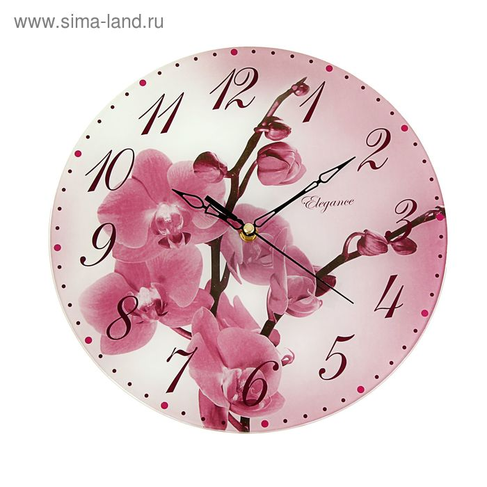 """Часы настенные круглые """"Розовая орхидея"""", 30 см"""