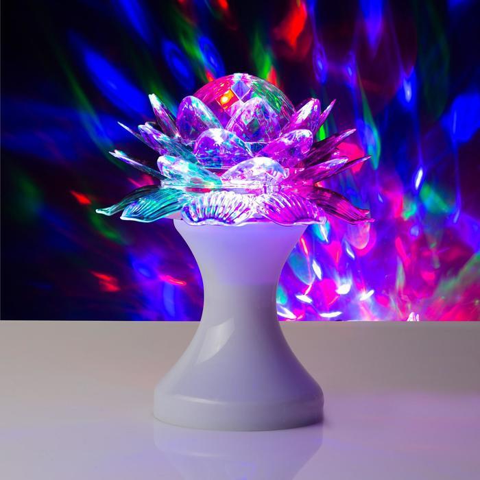 """Световой прибор хрустальный шар """"Цветок"""" диаметр 12,5 см V220 БЕЛЫЙ (RGB)"""