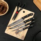 Набор кухонный, 6 предметов: 4 ножа 8/13/16/16 см, ножницы, доска 28х18 см