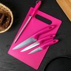 Набор кухонный, 5 предметов: ножи 9 см, 12 см, 15 см, мусат, доска, цвет МИКС - фото 547603