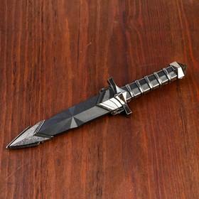 Сувенирный кинжал 27 см, рукоятка с рёбрами, на ножнах полоски - фото 4678042