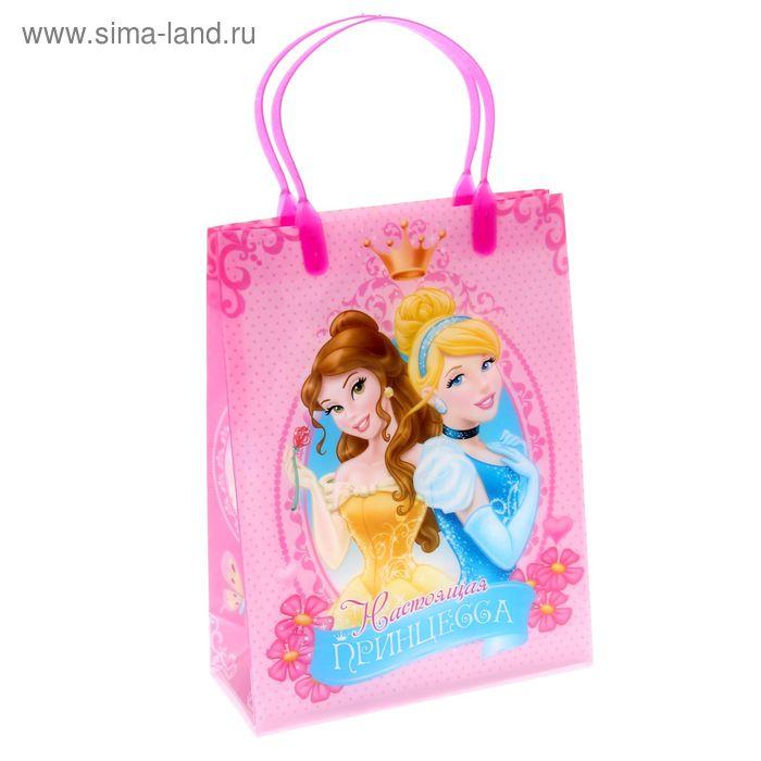 """Пакет подарочный пластик """"Настоящая принцесса"""", Принцессы, 18 х 23 см"""