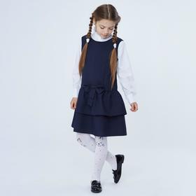 Сарафан для девочки, цвет синий, рост 128