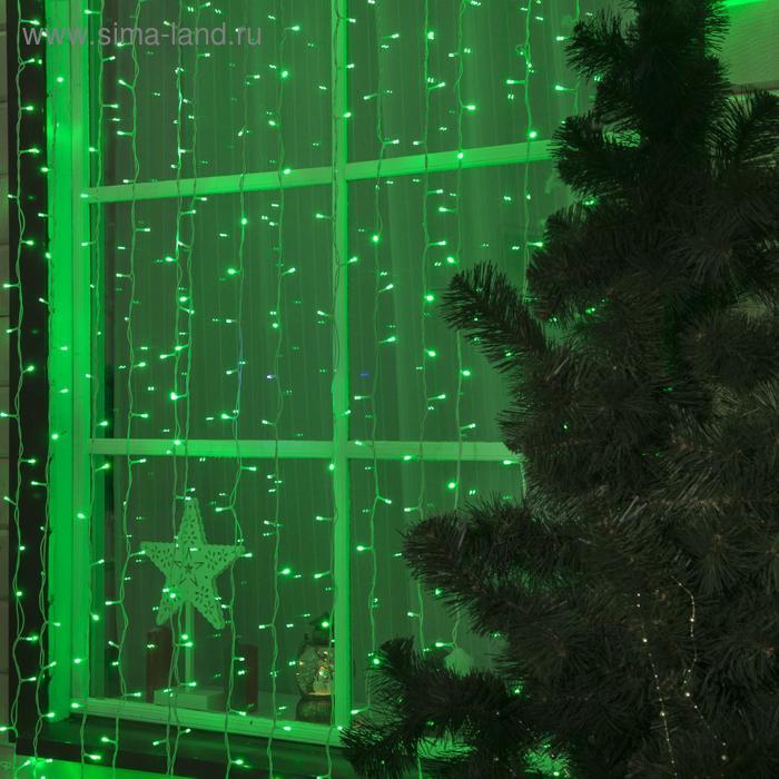 """Гирлянда """"Занавес"""" улич. УМС, Ш:2 м, В:3 м, Н.Б. 3W LED-760-220V, БЕЗ контр. ЗЕЛЕНЫЙ"""