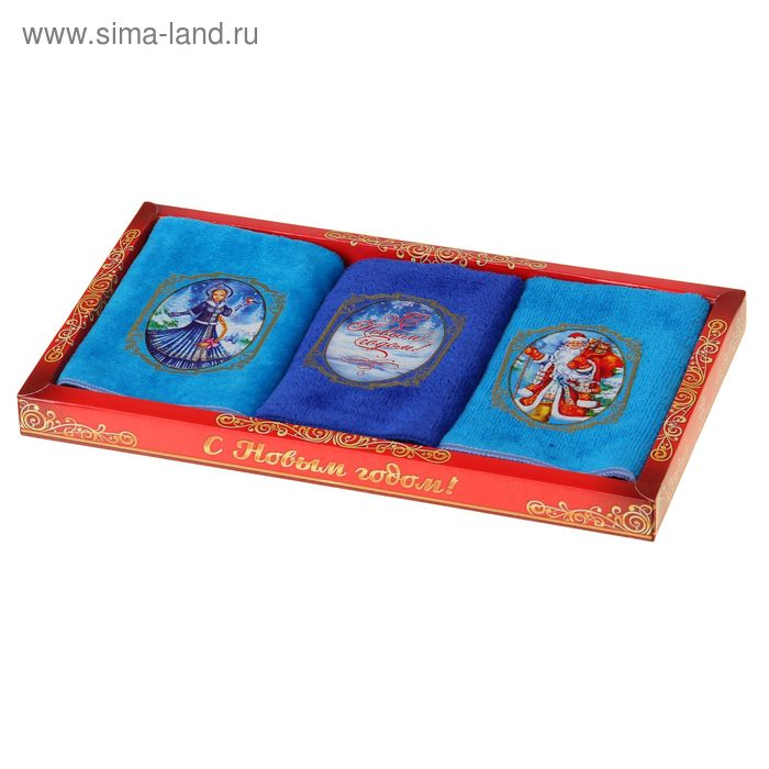"Набор полотенец ""Collorista"" Дед Мороз и Снегурочка, 25 х 25 см - 3 шт, хлопок, велюр 250 гр/м2    1"
